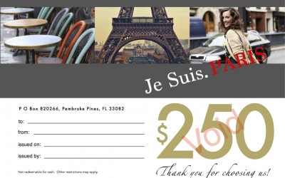 Gift Certificate - Je Suis PARIS